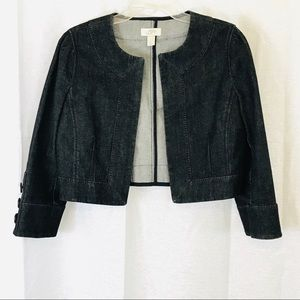 LOFT Black Crop Denim Jacket 8